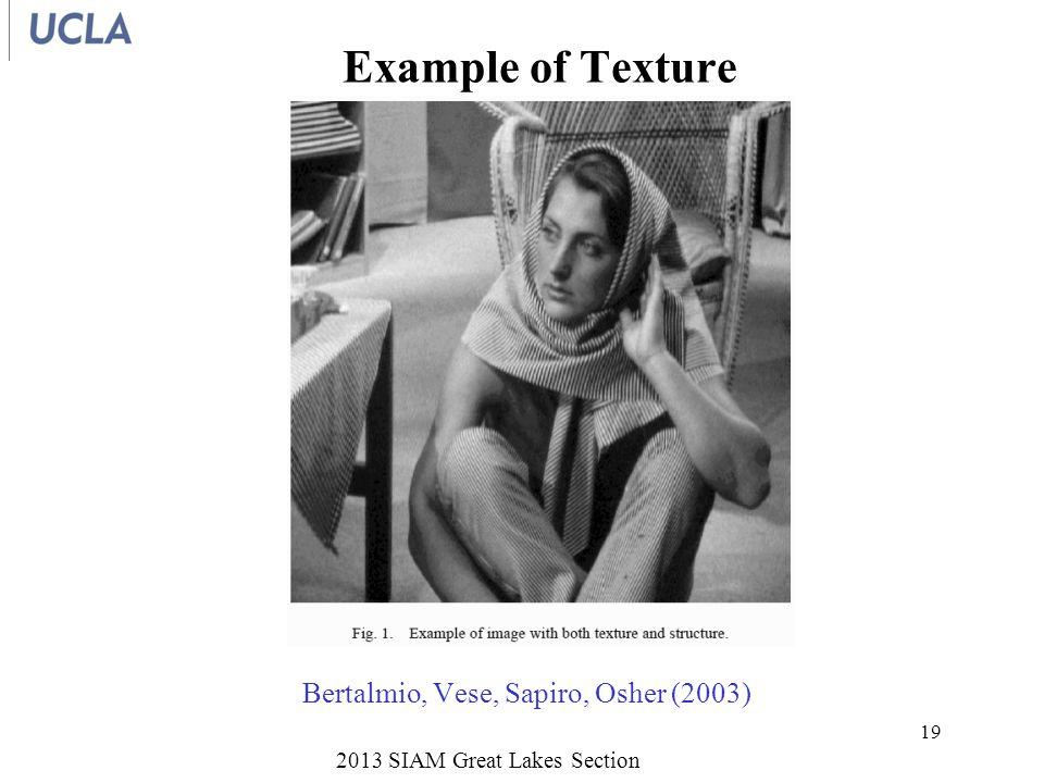 Example of Texture 2013 SIAM Great Lakes Section 19 Bertalmio, Vese, Sapiro, Osher (2003)