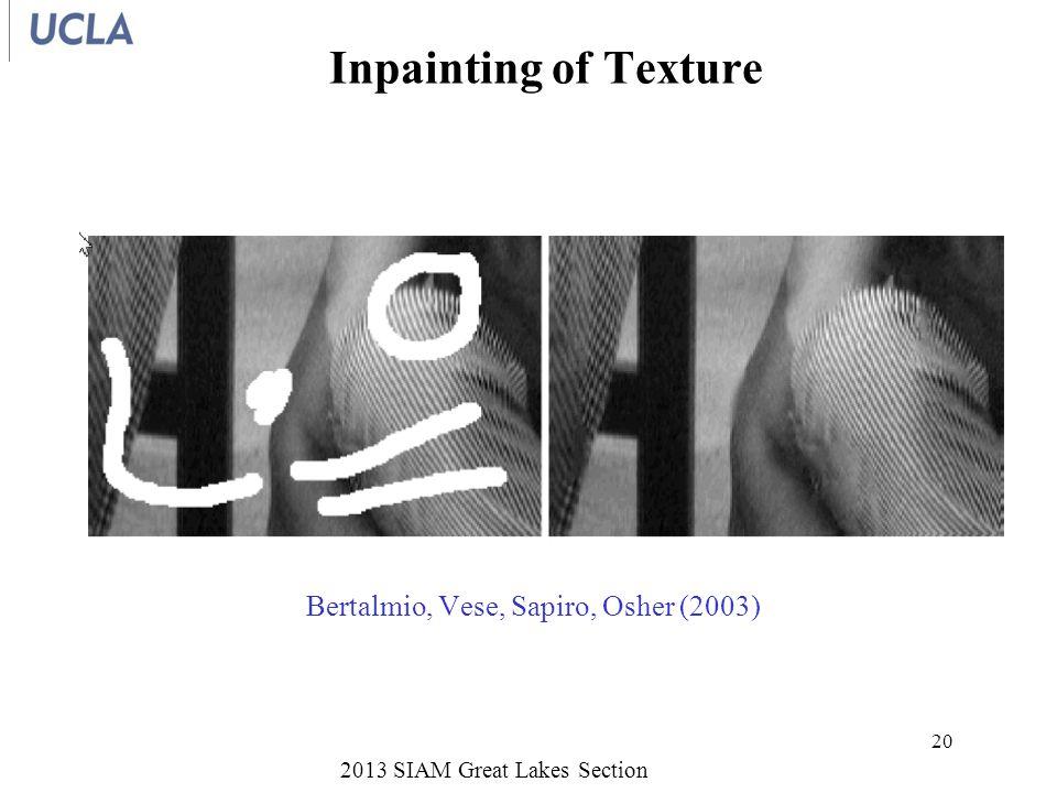 Inpainting of Texture 2013 SIAM Great Lakes Section 20 Bertalmio, Vese, Sapiro, Osher (2003)