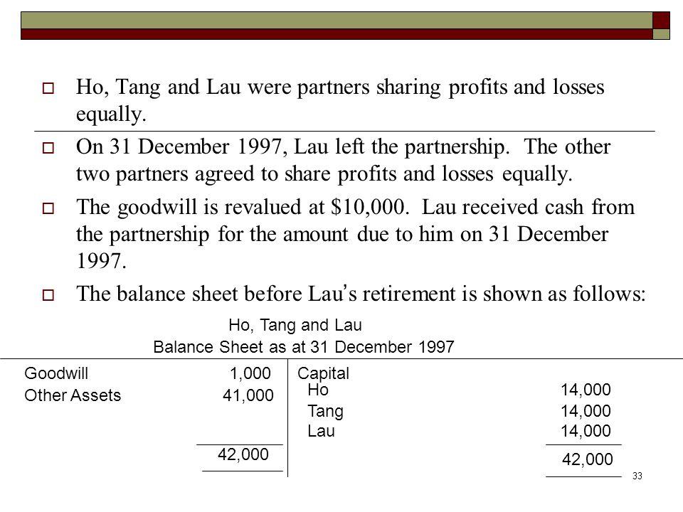 33  Ho, Tang and Lau were partners sharing profits and losses equally.