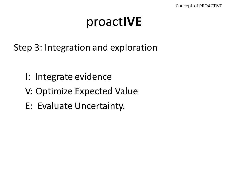 PROACTIVE P: Problem R: Reframe O: Objectives A: Alternatives C: Consequences T: Trade-offs I: Integrate V: Value E: Evaluate Concept of PROACTIVE