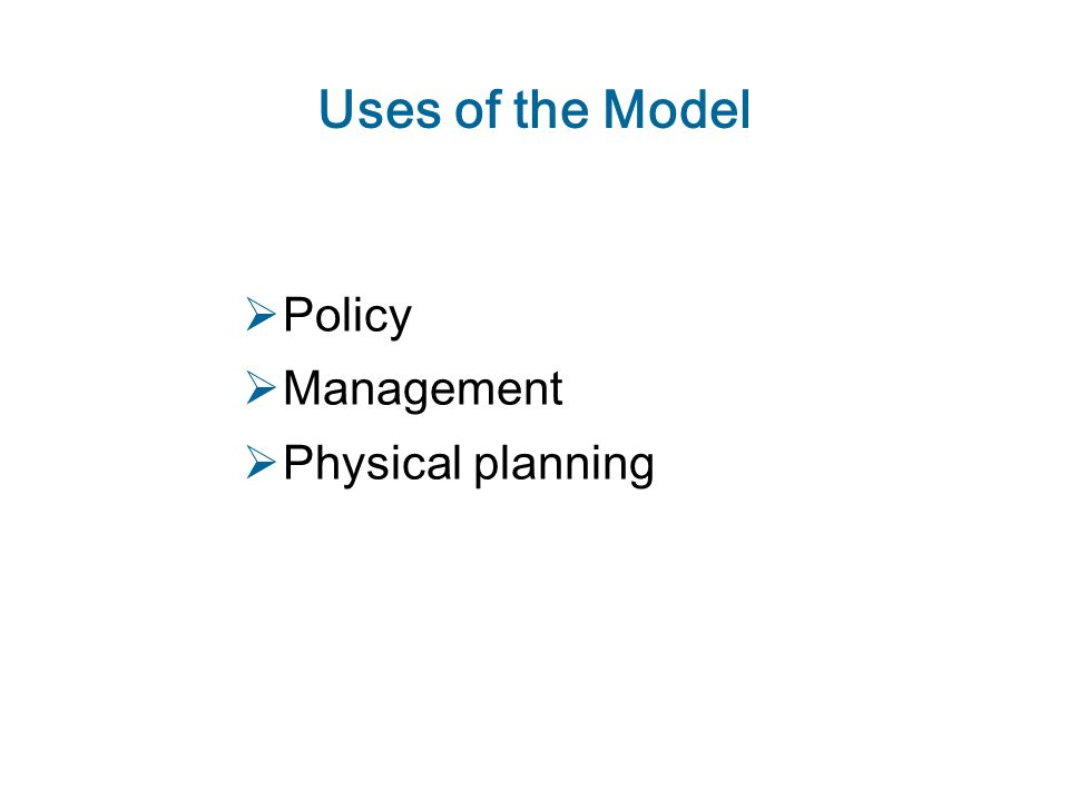 Uses of the Model  Policy  Management  Physical planning