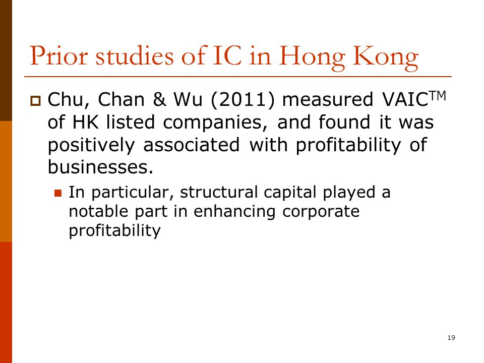 Prior studies of IC in Hong Kong  Chu, Chan & Wu (2011) measured VAIC TM of HK listed companies, and found it was positively associated with profitability of businesses.