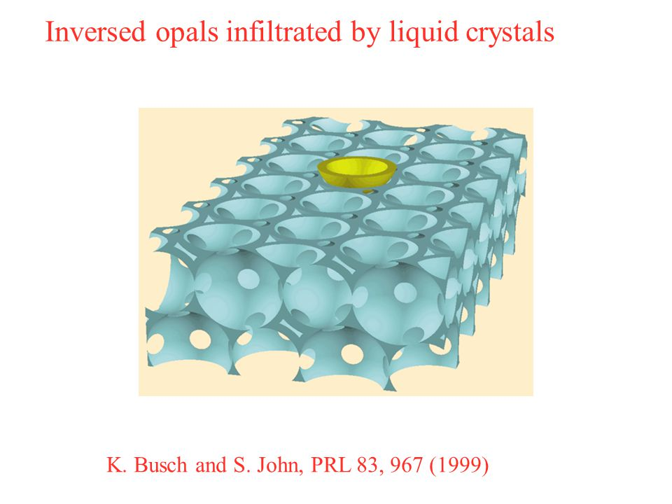 K. Busch and S. John, PRL 83, 967 (1999) Inversed opals infiltrated by liquid crystals