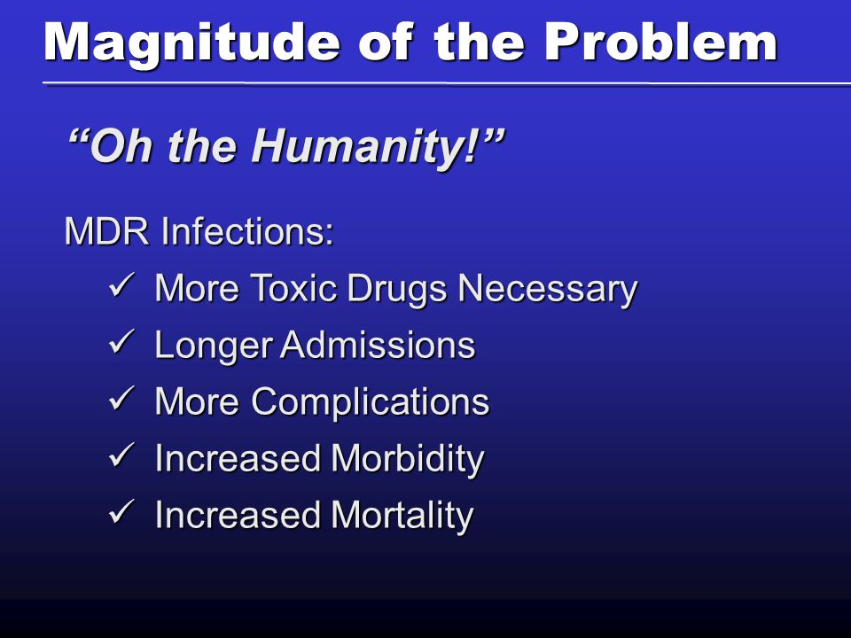 Money… It's a Drag Annual Cost of MDR Infections: $30B Our Reality: Fee for Performance (carrot) Denial for Nosocomial Infections (stick)