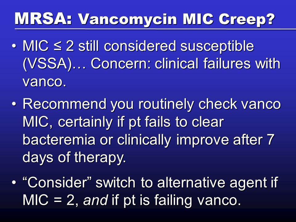 MRSA: Vancomycin MIC Creep.