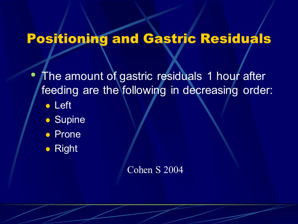 Positioning and Gastric Residuals The amount of gastric residuals 1 hour after feeding are the following in decreasing order: Left Supine Prone Right Cohen S 2004