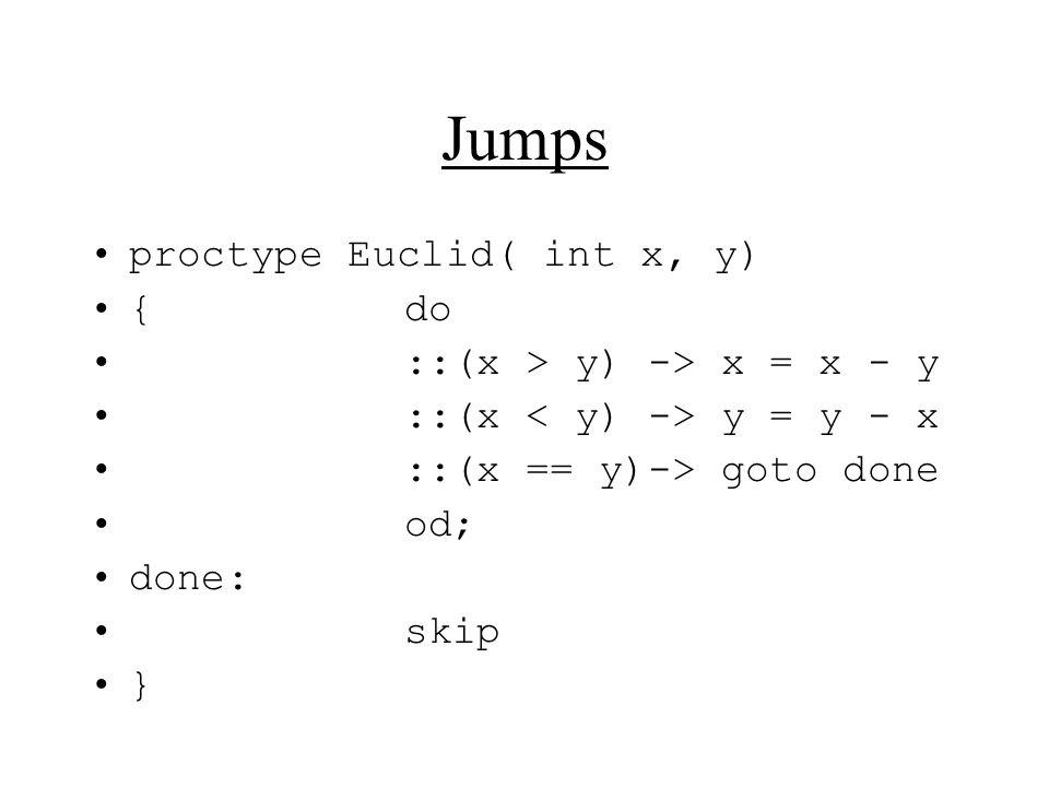 Jumps proctype Euclid( int x, y) {do ::(x > y) -> x = x - y ::(x y = y - x ::(x == y)-> goto done od; done: skip }