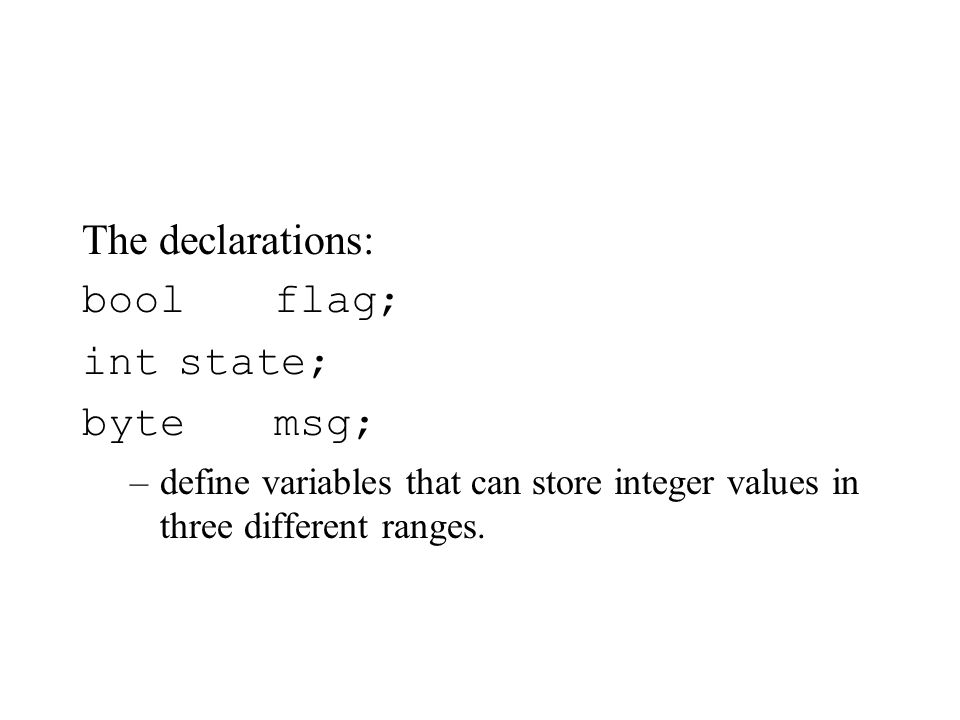 Arrays byte state[N] state[0] = state[3] + 5 * state[3*2/n] Where n is a constant or variable defined elsewhere.