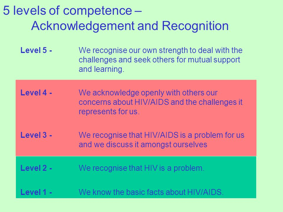 Level 5 -We recognise our own strength to deal with the challenges and seek others for mutual support and learning.