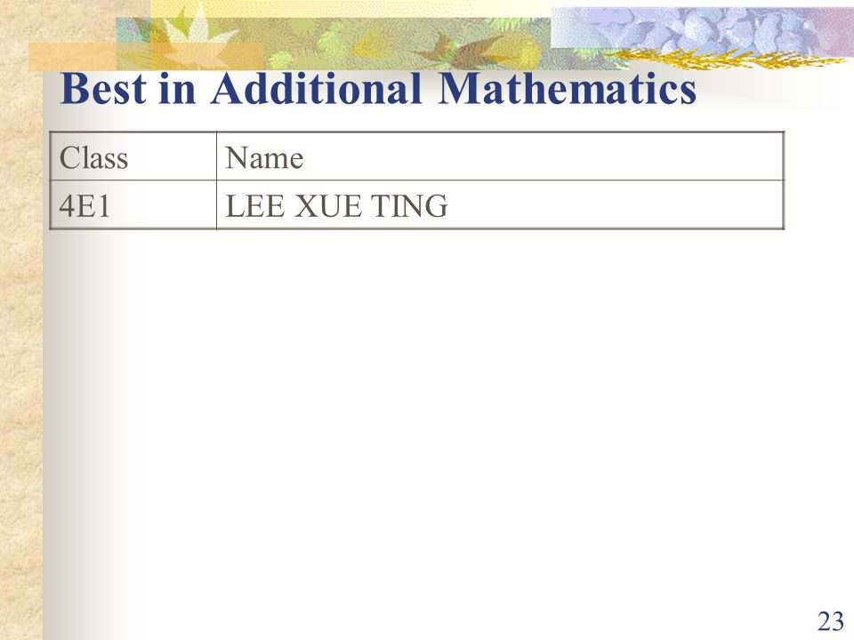 23 Best in Additional Mathematics ClassName 4E1LEE XUE TING