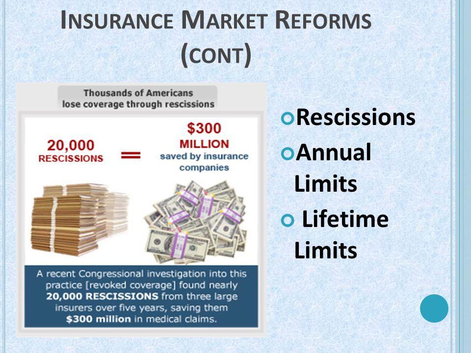 I NSURANCE M ARKET R EFORMS ( CONT ) Rescissions Annual Limits Lifetime Limits