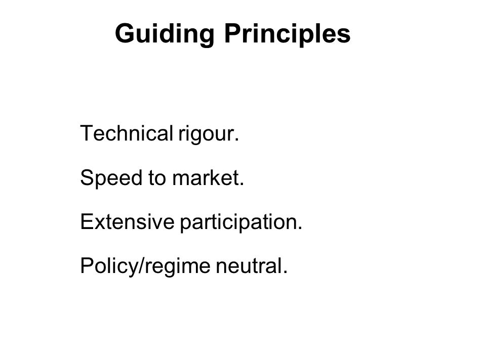 Guiding Principles Technical rigour. Speed to market.