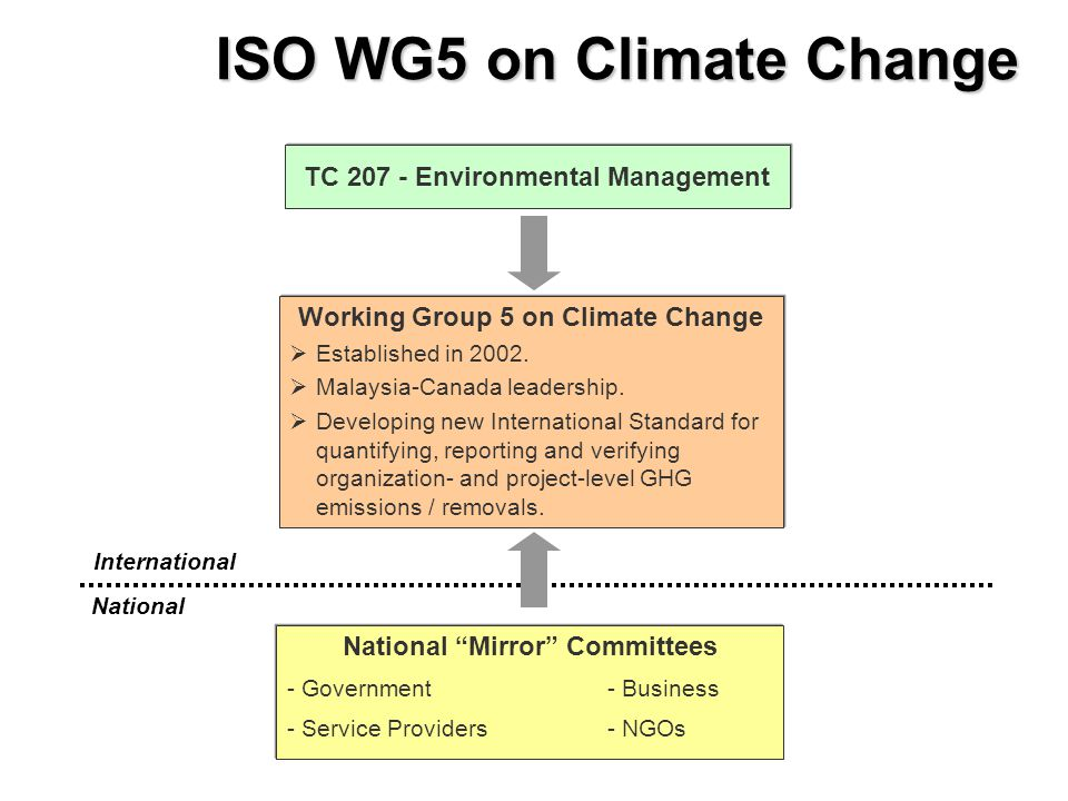 TC 207 - Environmental Management Working Group 5 on Climate Change   Established in 2002.