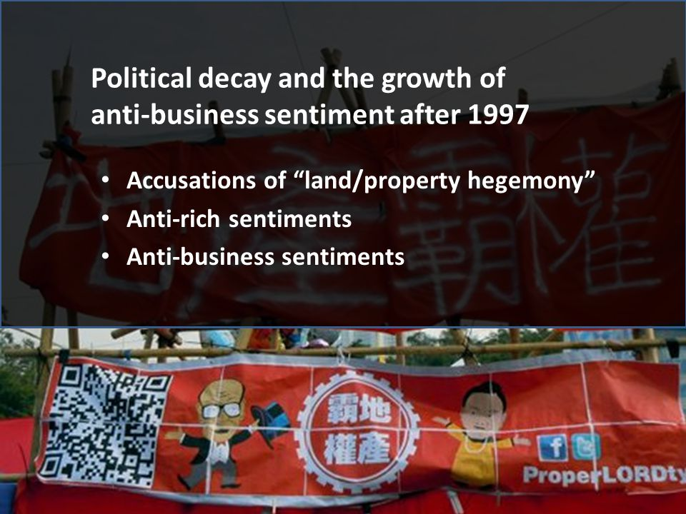 "Political decay and the growth of anti-business sentiment after 1997 Accusations of ""land/property hegemony"" Anti-rich sentiments Anti-business sentim"