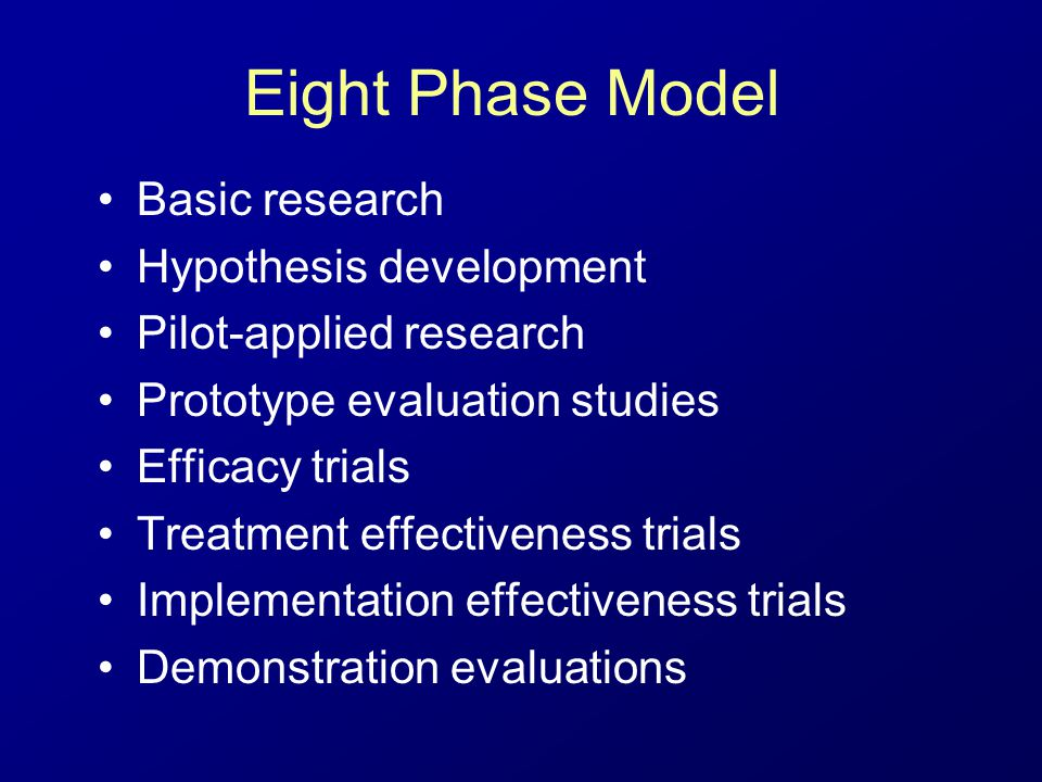Eight Phase Model Basic research Hypothesis development Pilot-applied research Prototype evaluation studies Efficacy trials Treatment effectiveness trials Implementation effectiveness trials Demonstration evaluations
