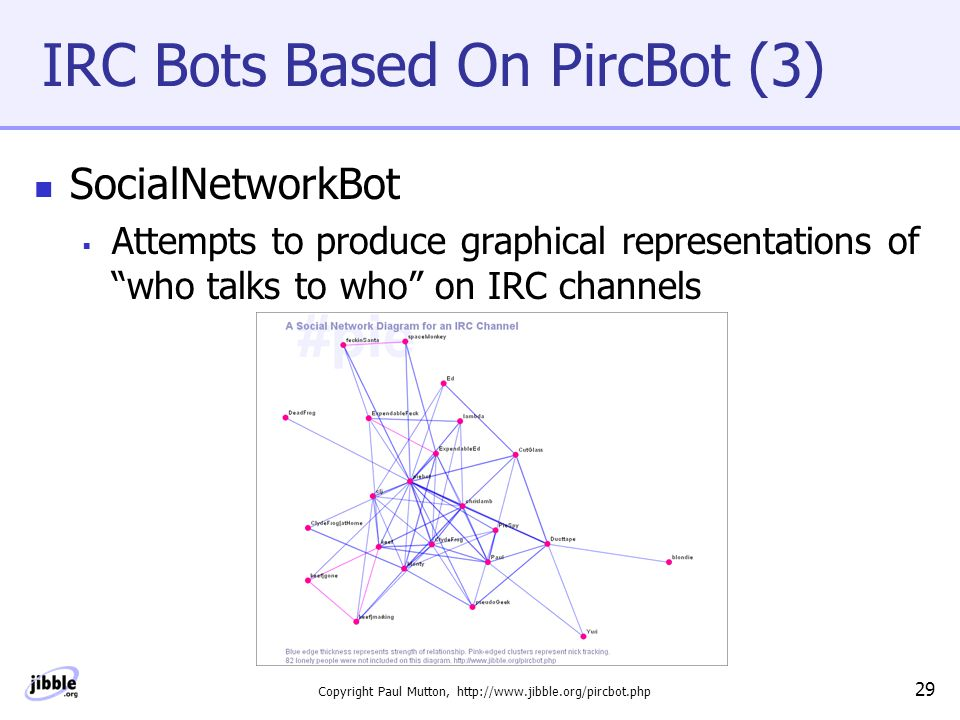 Copyright Paul Mutton, http://www.jibble.org/pircbot.php 29 IRC Bots Based On PircBot (3) SocialNetworkBot  Attempts to produce graphical representations of who talks to who on IRC channels