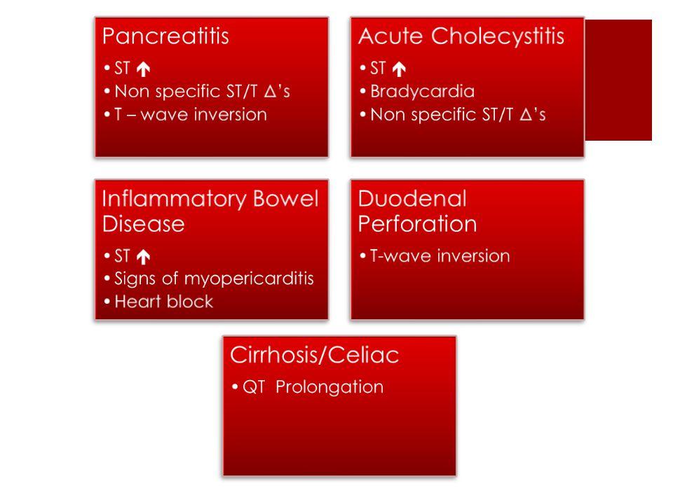 Pancreatitis ST  Non specific ST/T Δ's T – wave inversion Acute Cholecystitis ST  Bradycardia Non specific ST/T Δ's Inflammatory Bowel Disease ST  Signs of myopericarditis Heart block Duodenal Perforation T-wave inversion Cirrhosis/Celiac QT Prolongation