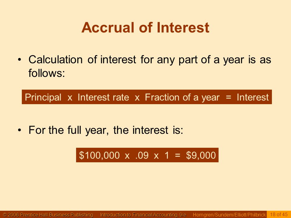 © 2006 Prentice Hall Business Publishing Introduction to Financial Accounting, 9/e © 2006 Prentice Hall Business Publishing Introduction to Financial Accounting, 9/e Horngren/Sundem/Elliott/Philbrick 18 of 45 Accrual of Interest Calculation of interest for any part of a year is as follows: For the full year, the interest is: Principal x Interest rate x Fraction of a year = Interest $100,000 x.09 x 1 = $9,000