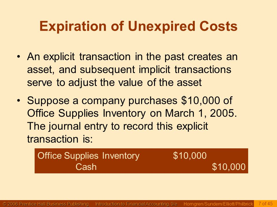 © 2006 Prentice Hall Business Publishing Introduction to Financial Accounting, 9/e © 2006 Prentice Hall Business Publishing Introduction to Financial Accounting, 9/e Horngren/Sundem/Elliott/Philbrick 7 of 45 Expiration of Unexpired Costs An explicit transaction in the past creates an asset, and subsequent implicit transactions serve to adjust the value of the asset Suppose a company purchases $10,000 of Office Supplies Inventory on March 1, 2005.