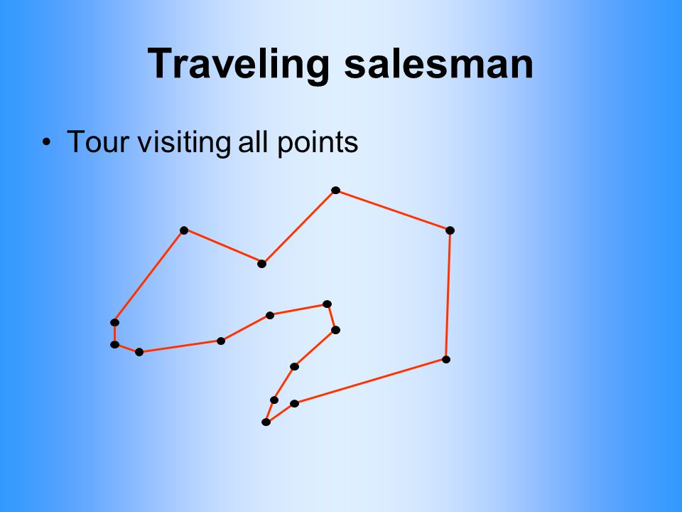 Traveling salesman Tour visiting all points