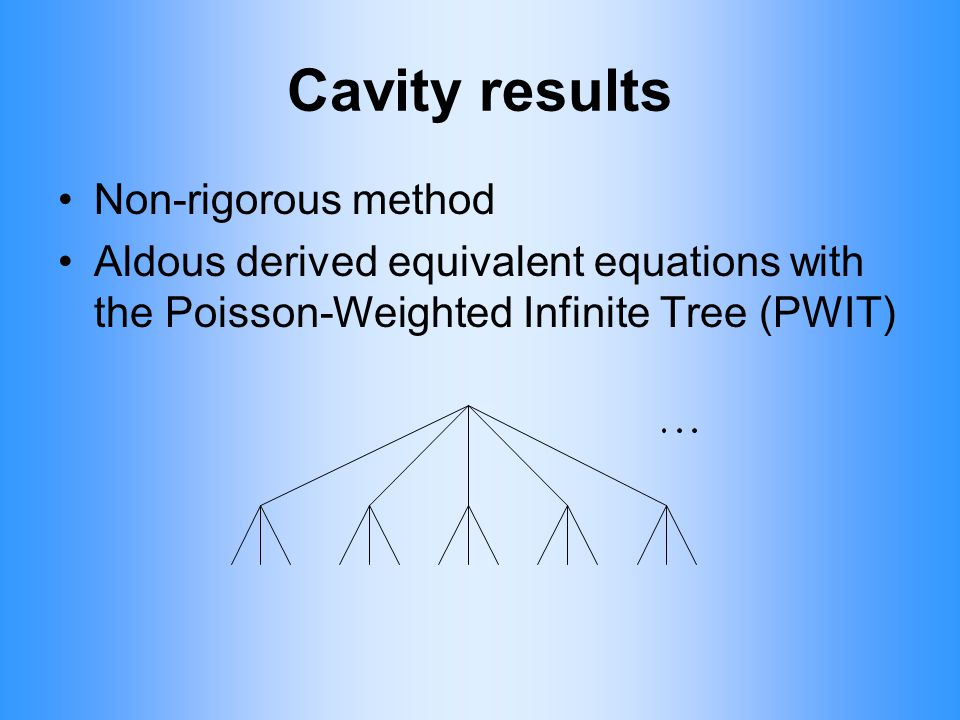 Cavity results Non-rigorous method Aldous derived equivalent equations with the Poisson-Weighted Infinite Tree (PWIT)