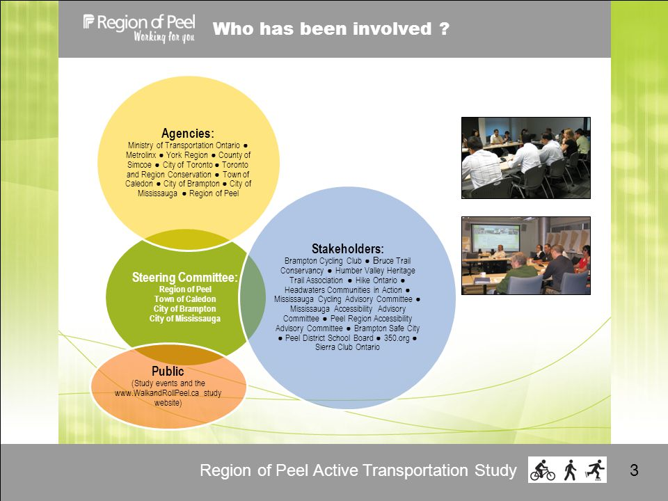 Region of Peel Active Transportation Study3 Who has been involved .