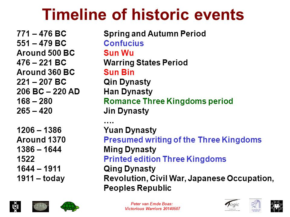 Peter van Emde Boas: Victorious Warriors 20140507 Timeline of historic events 771 – 476 BCSpring and Autumn Period 551 – 479 BCConfucius Around 500 BCSun Wu 476 – 221 BCWarring States Period Around 360 BCSun Bin 221 – 207 BCQin Dynasty 206 BC – 220 ADHan Dynasty 168 – 280 Romance Three Kingdoms period 265 – 420 Jin Dynasty ….