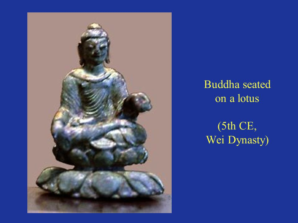 Buddha seated on a lotus (5th CE, Wei Dynasty)