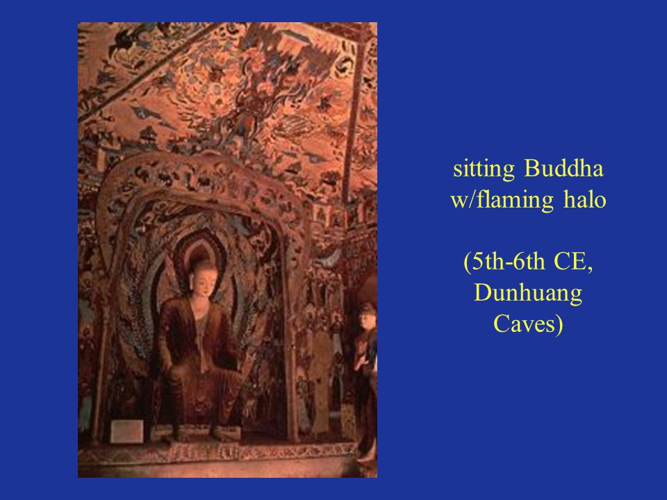 sitting Buddha w/flaming halo (5th-6th CE, Dunhuang Caves)