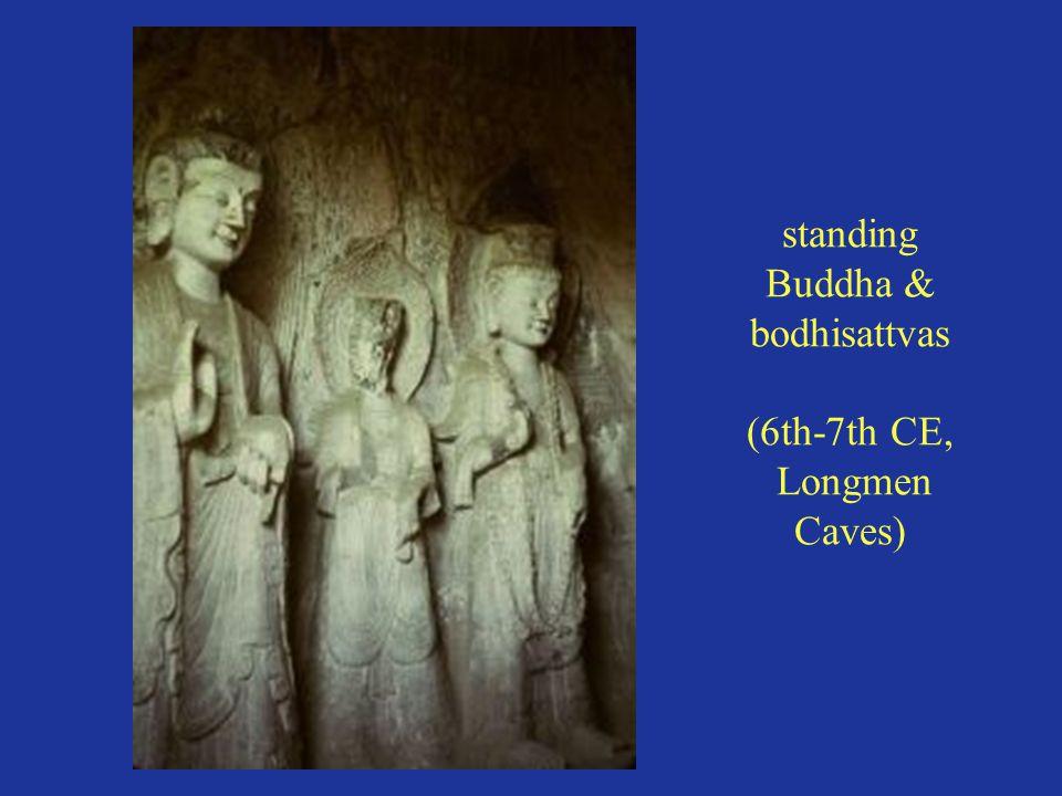 standing Buddha & bodhisattvas (6th-7th CE, Longmen Caves)