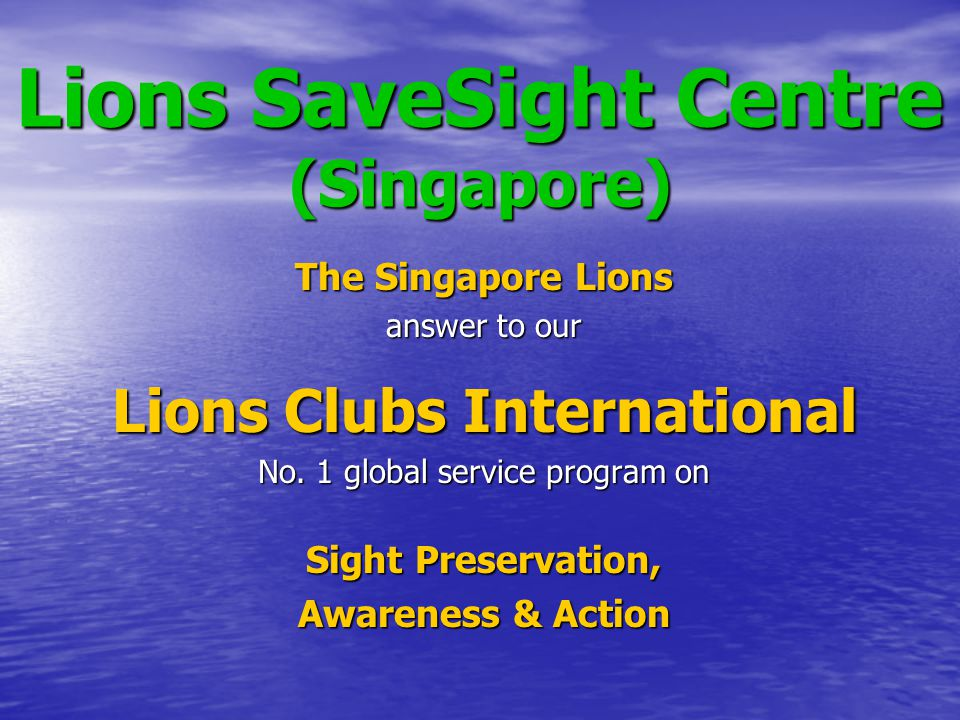 Lions World Sight Day cum Annual Lecture 2010 Date: Sunday 10 October 2010 - Venue: The Jelutung @ Canberra Community Club - Participating Organizations: LCI District 308-A1, Singapore Singapore National Eye Centre The Jelutung @ Canberra Community Club Lions SaveSight Centre (Singapore) - Guest of Honor: Minister in Prime Minister's Office Lim Boon Heng - VIP Guests: MP Sembawang GRC Dr Lim Wee Kiak & DG Steven Seah - Annual Lecture Speaker: Prof Wong Tien Yin - Eye Screening: over 300 senior citizens - Lecture Attendees: over 200 persons - Event reported in the Channel News Asia and the Straits Times