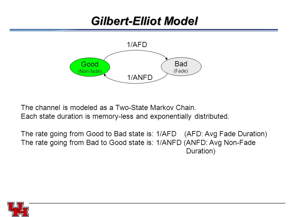 Gilbert-Elliot Model Good (Non-fade) Bad (Fade) 1/ANFD 1/AFD The channel is modeled as a Two-State Markov Chain.