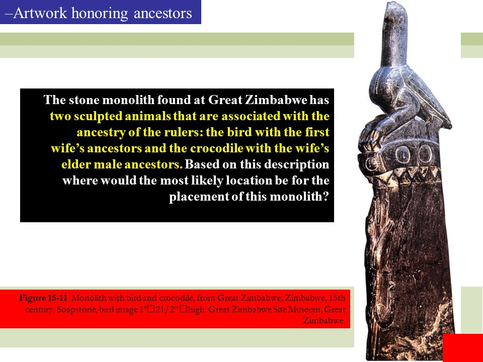 "13 Figure 15-11 Monolith with bird and crocodile, from Great Zimbabwe, Zimbabwe, 15th century. Soapstone, bird image 1'21/2""high. Great Zimbabwe Site"