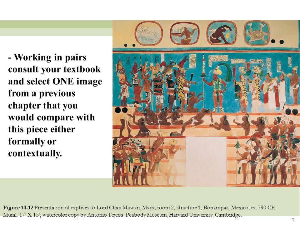 7 Figure 14-12 Presentation of captives to Lord Chan Muwan, Maya, room 2, structure 1, Bonampak, Mexico, ca. 790 CE. Mural, 17' X 15'; watercolor copy