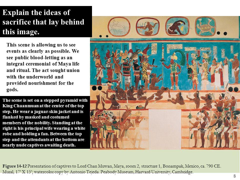 8 Figure 14-12 Presentation of captives to Lord Chan Muwan, Maya, room 2, structure 1, Bonampak, Mexico, ca. 790 CE. Mural, 17' X 15'; watercolor copy