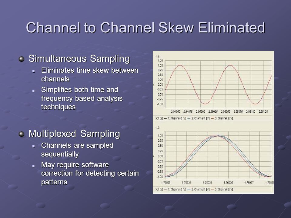 Channel to Channel Skew Eliminated Simultaneous Sampling Eliminates time skew between channels Eliminates time skew between channels Simplifies both time and frequency based analysis techniques Simplifies both time and frequency based analysis techniques Multiplexed Sampling Channels are sampled sequentially Channels are sampled sequentially May require software correction for detecting certain patterns May require software correction for detecting certain patterns