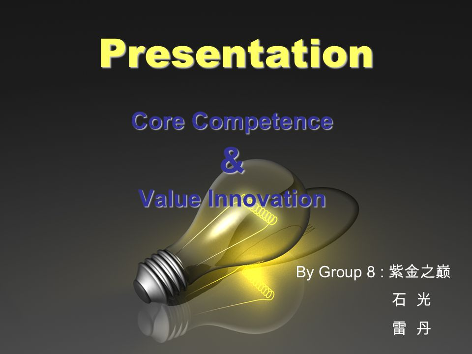 Presentation Core Competence & Value Innovation By Group 8 : 紫金之巅 石 光 雷 丹