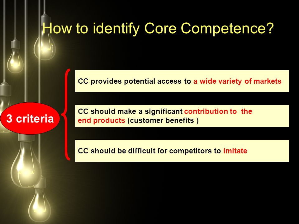 How to identify Core Competence? 3 criteria CC provides potential access to a wide variety of markets CC should make a significant contribution to the