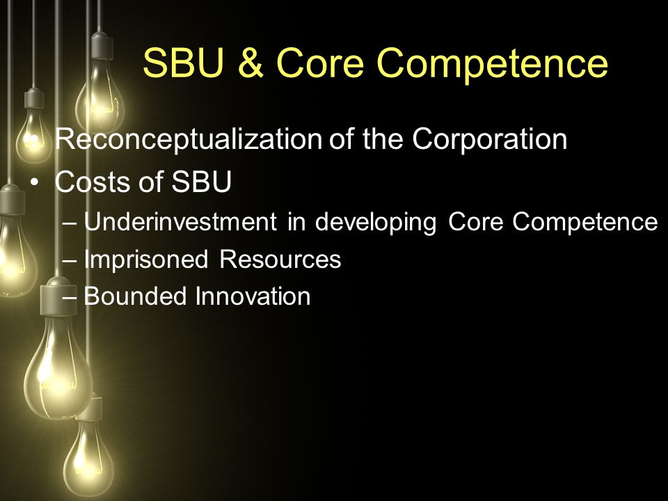 SBU & Core Competence Reconceptualization of the Corporation Costs of SBU –Underinvestment in developing Core Competence –Imprisoned Resources –Bounde