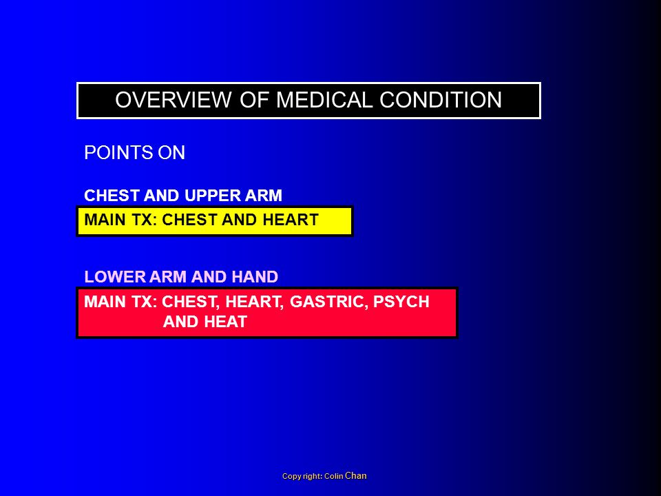 CHEST AND UPPER ARM OVERVIEW OF MEDICAL CONDITION MAIN TX: CHEST AND HEART LOWER ARM AND HAND MAIN TX: CHEST, HEART, GASTRIC, PSYCH AND HEAT POINTS ON Copy right: Colin Chan