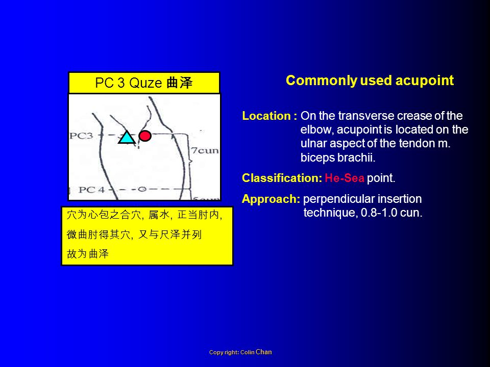 Location : On the palmar aspect of the forearm, acupoint is located 5 cun above the transverse crease of the wrist, on the line joining PC 3 Quze 曲泽 and PC 7 Daling 大陵, between the tendons m.