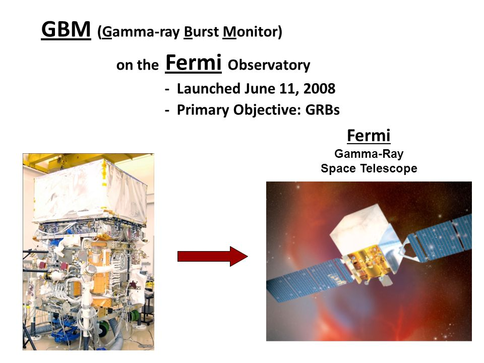 GBM (Gamma-ray Burst Monitor) on the Fermi Observatory - Launched June 11, 2008 - Primary Objective: GRBs Fermi Gamma-Ray Space Telescope