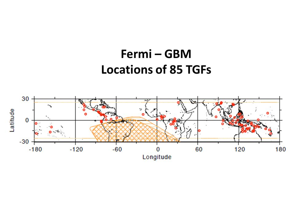 Fermi – GBM Locations of 85 TGFs