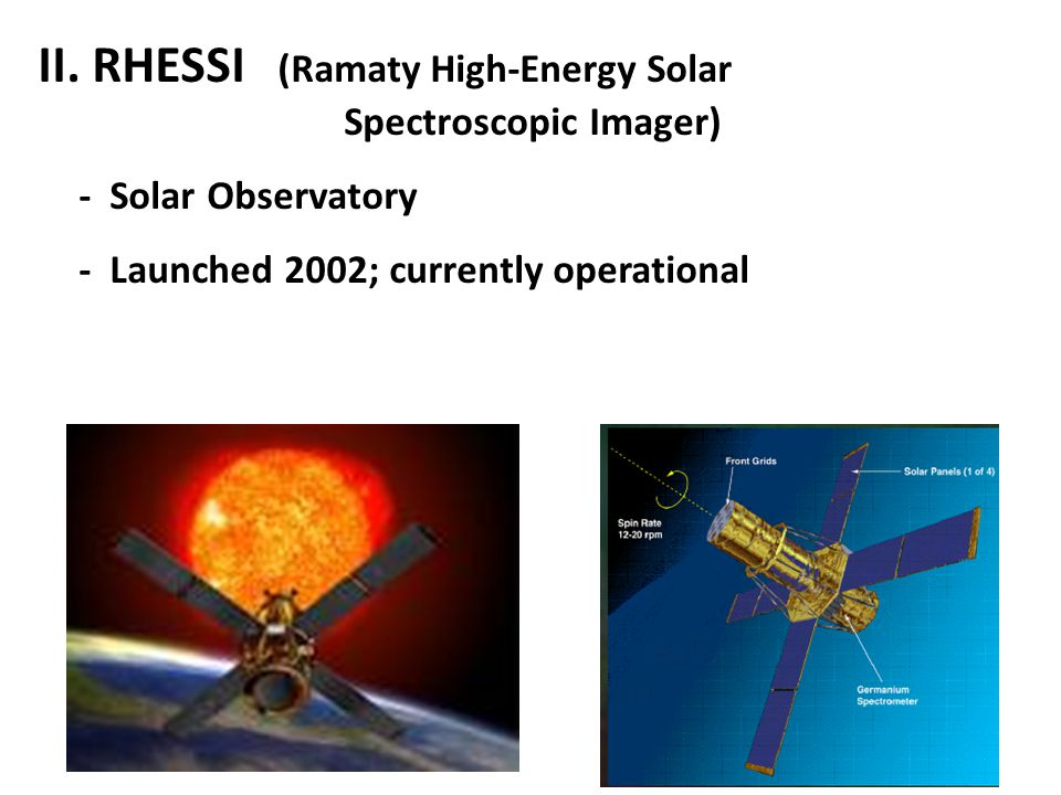II. RHESSI (Ramaty High-Energy Solar Spectroscopic Imager) - Solar Observatory - Launched 2002; currently operational
