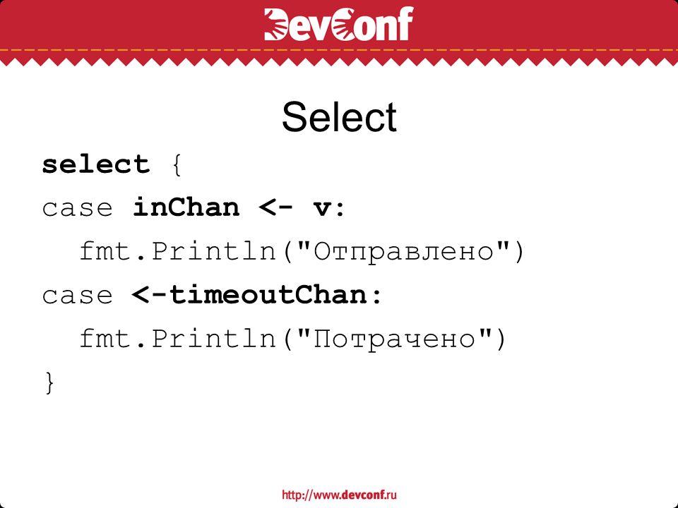 Select select { case inChan <- v: fmt.Println(