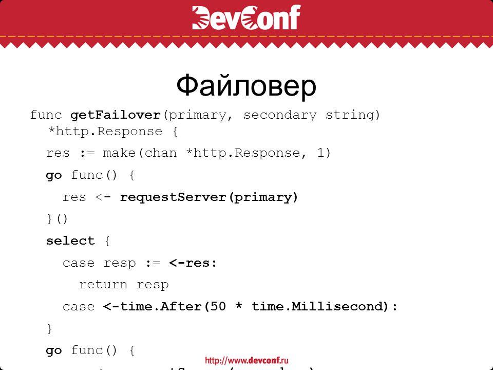 Файловер func getFailover(primary, secondary string) *http.Response { res := make(chan *http.Response, 1) go func() { res <- requestServer(primary) }(