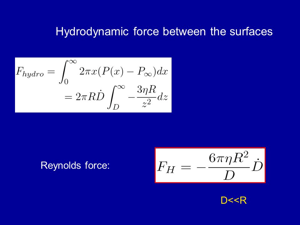 Hydrodynamic force between the surfaces Reynolds force: D<<R D F hydro = - 6  R 2 D