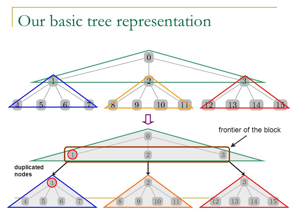 Our basic tree representation frontier of the block duplicated nodes