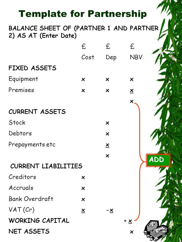 Template for Partnership BALANCE SHEET OF (PARTNER 1 AND PARTNER 2) AS AT (Enter Date) ££££££ CostDepNBV FIXED ASSETS Equipmentxxx Premises xxx x CURRENT ASSETS Stockx Debtorsx Prepayments etcx x CURRENT LIABILITIES Creditorsx Accrualsx Bank Overdraftx VAT (Cr)x -x WORKING CAPITAL + x NET ASSETSx ADD