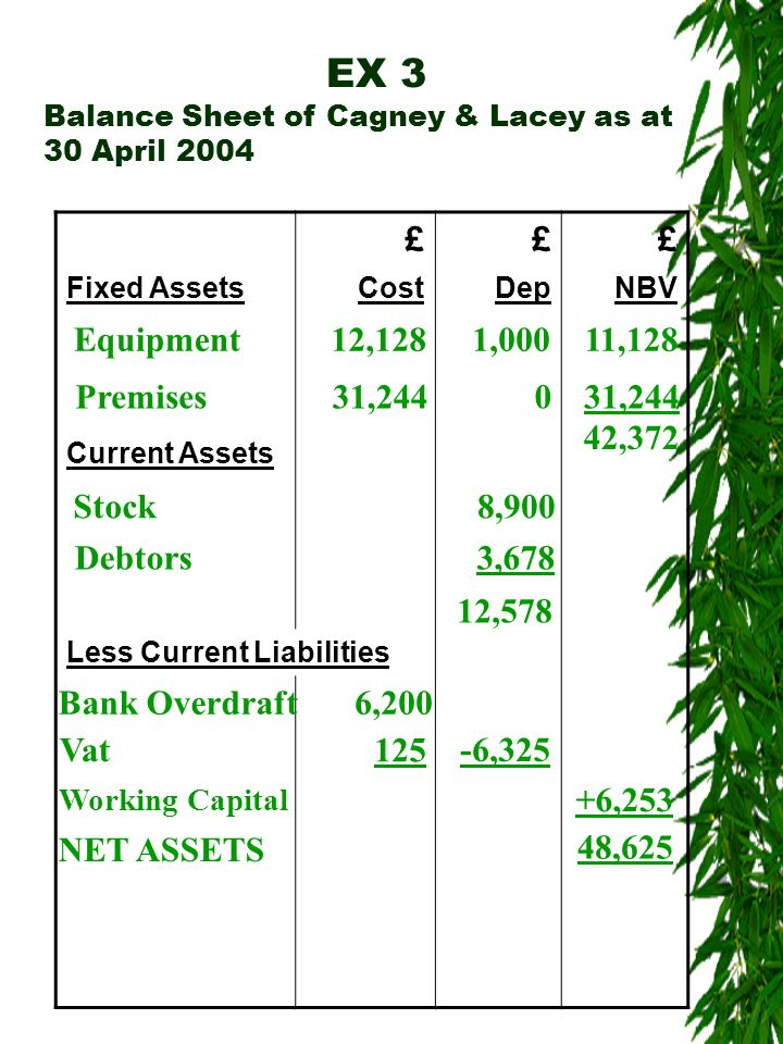 EX 3 Balance Sheet of Cagney & Lacey as at 30 April 2004 £££ Fixed AssetsCostDepNBV Current Assets Less Current Liabilities Equipment12,1281,00011,128 Premises31,2440 42,372 Stock8,900 Debtors3,678 12,578 Bank Overdraft6,200 Vat125 -6,325 Working Capital +6,253 NET ASSETS 48,625